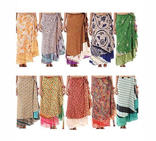 Indian Vintage Floral Recycled Silk Sari Women Wrap Skirt Wrapper Beach Cover Up