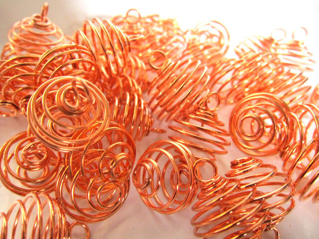 Copperplated Spiral Cage 20mm Qty1 Pendant Charm Healing Crystals Reiki B032