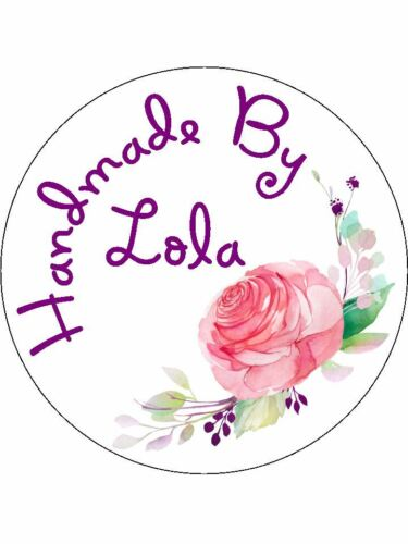 Personalised Stickers Handmade by Labels Various sizes ANY NAME Pretty Rose H14