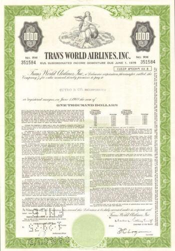 Trans World Airlines /> $1,000 TWA bond certificate stock share