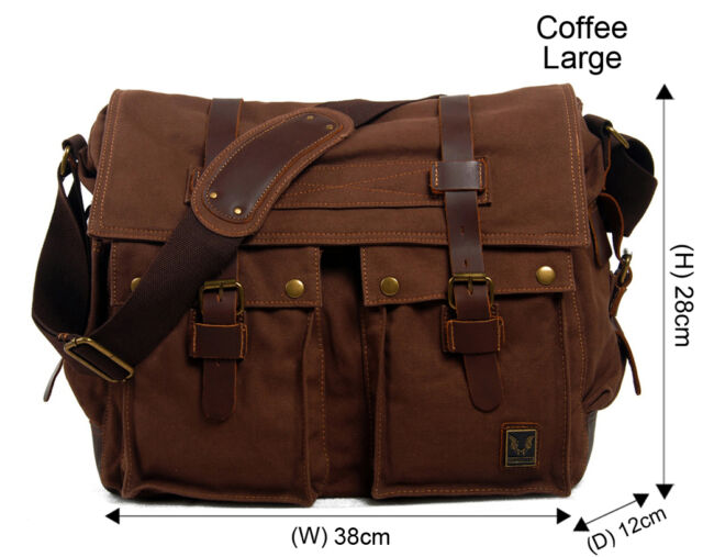 Men s Vintage Canvas Leather Military X-large 15 Laptop Shoulder ... ac8e4d41a2bf0