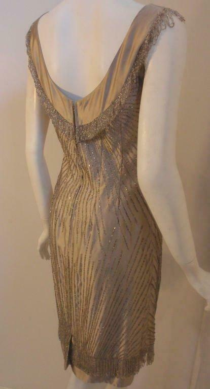 CEIL CHAPMAN 1950s Champagne Silk Shimmering Cock… - image 6