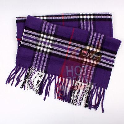 Women unisex 100/% CASHMERE Big Tartan Stripe Plaid Wool Purple Wrap Scarf