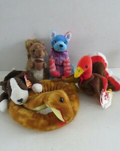 LOT 5 TY Beanie Babies~Nutty the Squirrel, Bruno, Gobbles, Slithery, HODGE-PODGE