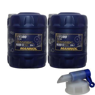 2x 20 Litri Mannol Olio Idraulico Hydro Iso 32 Hydraulic Fluid Incl. Rubinetto Rubinetto-