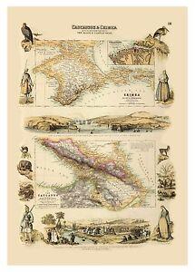 Old Vintage Decorative Map of Caucausus Crimea Fullarton 1872