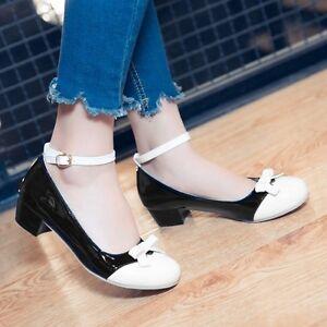 womens ladies stylish sweet pu leather bowknot pumps dress shoes size 4.5-10.5 #