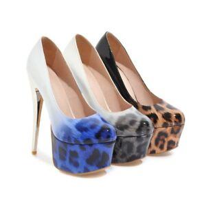 Ladies-Shoes-Leopard-Synthetic-Leather-Platform-High-Heels-Pumps-US-Size-S899