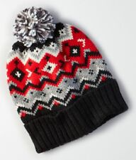 90a1a63e03c 1 American Eagle Outfitters AEO RED   BLACK Beanie Pom Pom Hat Chevron Men  Guy