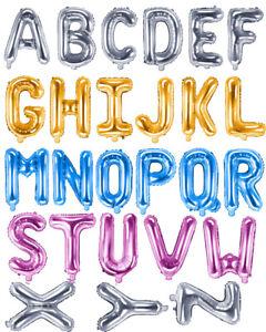 Folienballons-Buchstaben-Hoehe-35-cm-Farben-Gold-Silber-Pink-Blau