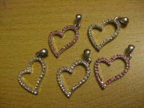 charms  x5 30mm rhinestone love friends UK C52 Stylised heart pendants