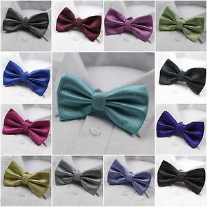 MENS-GRID-BOW-TIE-Pretied-Accessory-Tuxedo-Formal-Wedding-Blue-Black-Grey-Gold