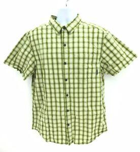 Columbia Short Sleeve Plaid Button Up Casual Cotton Shirt Men's Large Regular