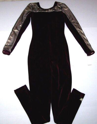 Nwt New GK Elite Unitard Bodysuit Velvet Hologram Foil Burgundy Gold $91 Women