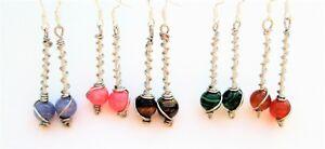 Silver-Gemstone-Earrings-dangle-drop-handmade-wire-wrapped-boho-ethnic-style