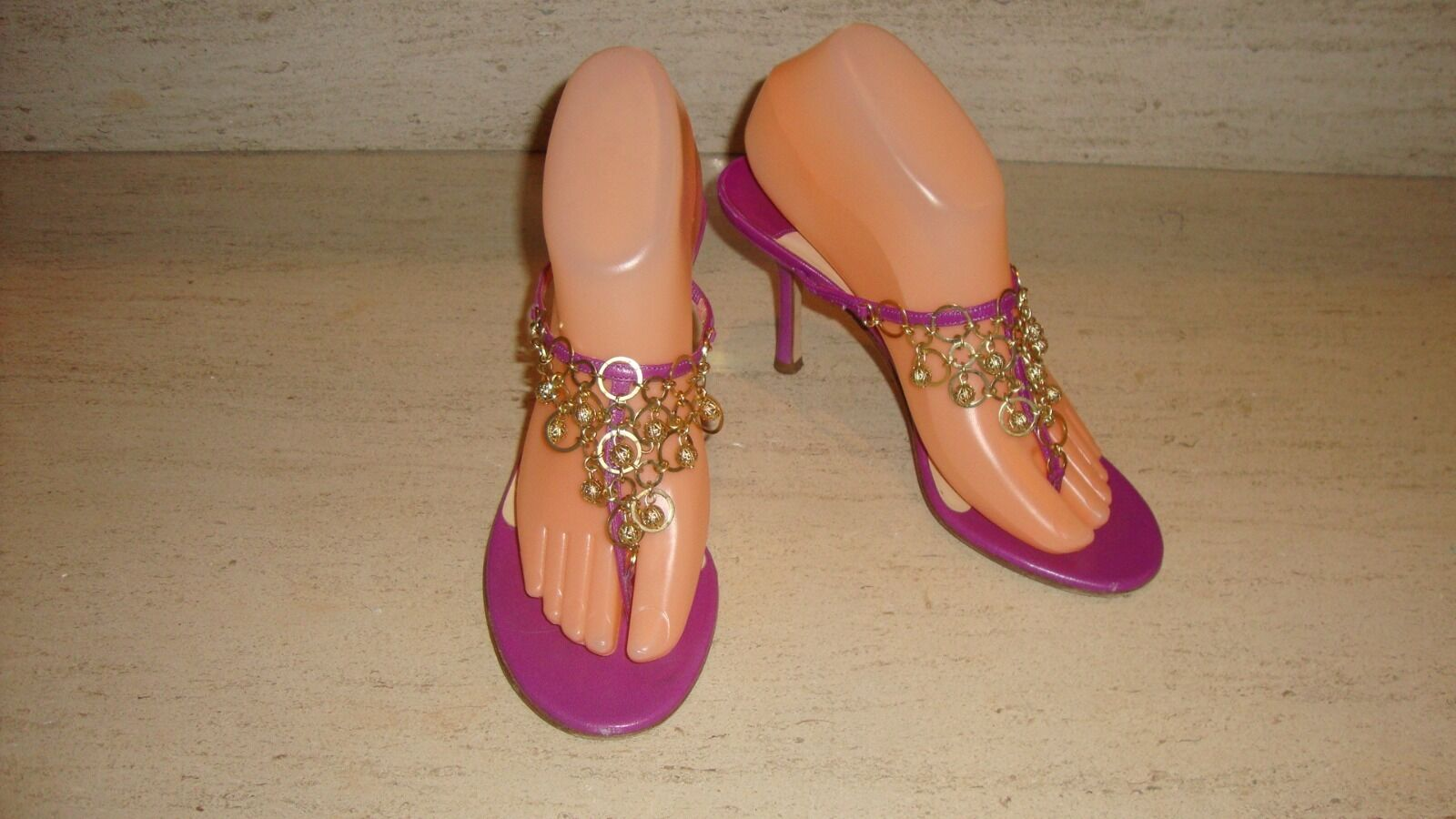 STYLISH JIMMY CHOO VIOLET SANDALS / HEELS  WITH GOLD TWICE TONE ACCENTS - WORN TWICE GOLD 9606a8