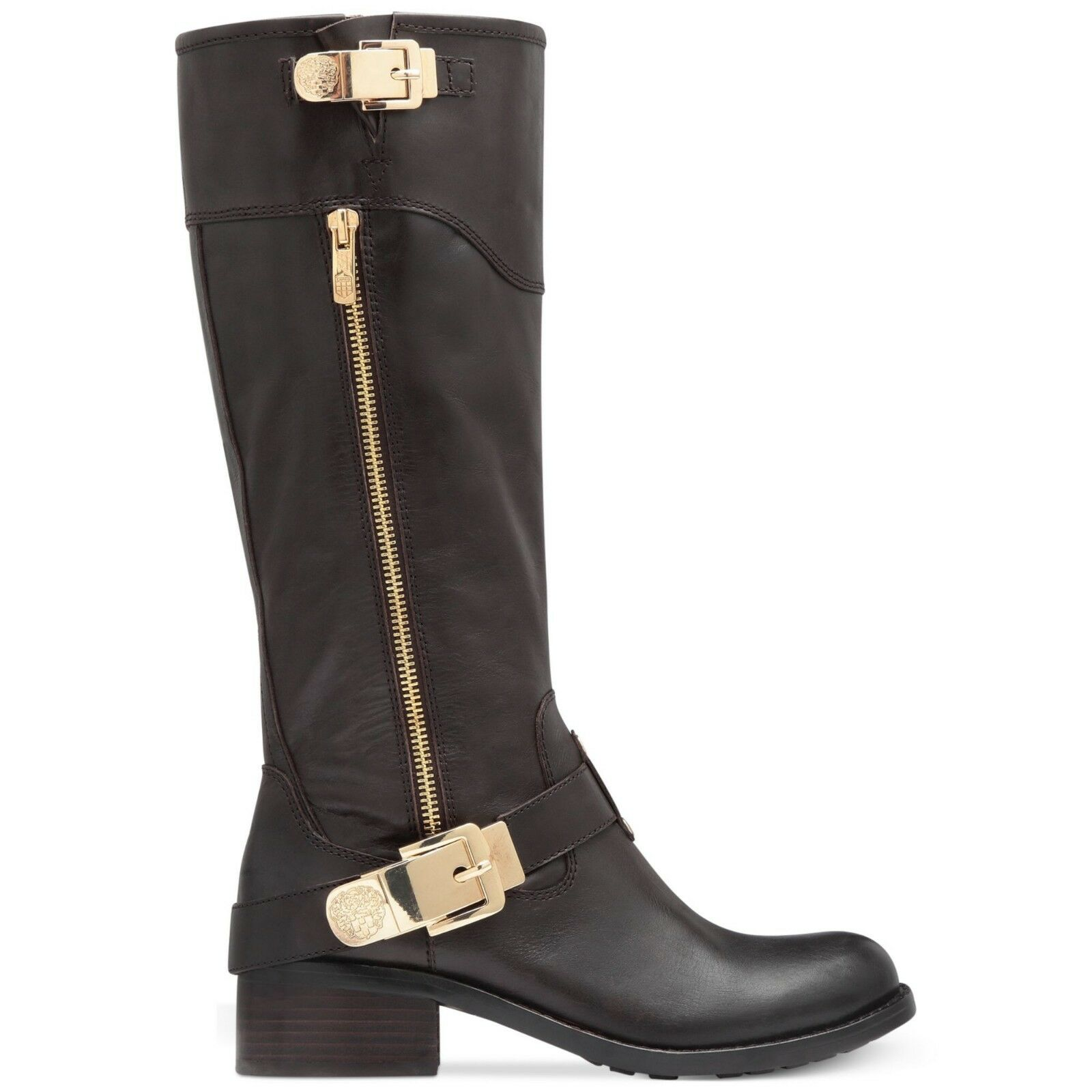 Vince Camuto Waymin Leather motorcycle boots Fudge Brownie Dark Brown 6 NEW