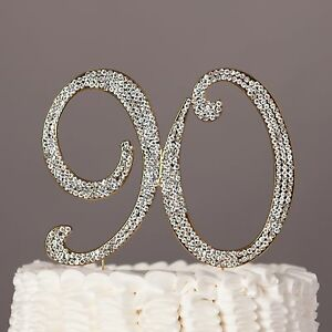 Image Is Loading 90 Gold Cake Topper 90th Birthday Party Decoration