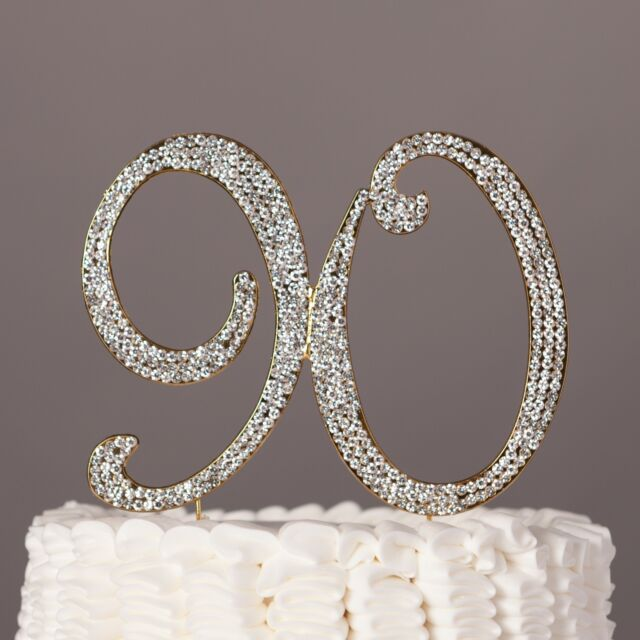 90 Gold Cake Topper 90th Birthday Party Decoration