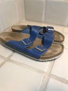 Birkenstock-Arizona-Two-Strap-Comfort-Leather-Sandals-EU43-M10-Light-Navy-Blue