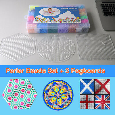 Box of 12000pcs Perler Beads with 3 Large Pegboards, 36 Color 5mm Hama Fuse Bead
