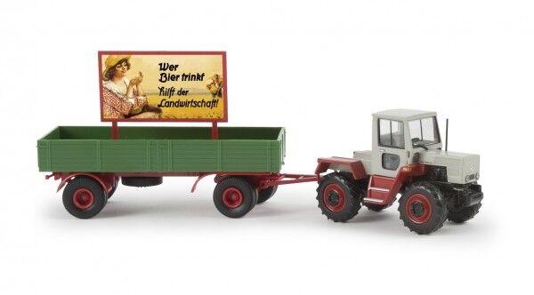 1 87 Brekina MB trac mit Hänger + Werbetafel Bier-Landwirtschaft 13711