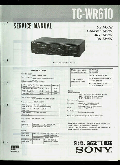 Sony TC-WR610 Stereo Cassette Tape Deck Original Factory Service Guide Manual