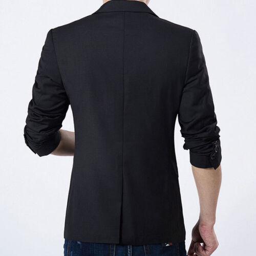 Uomo Casual Slim Fit Formale Business un Bottone Blazer Tuta cappotto Giacca Tops