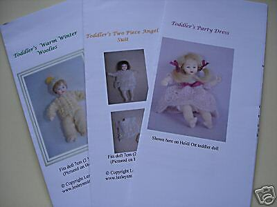 """Knitting Patterns for 1/12th scale  2-3"""" toddler doll SET 1"""