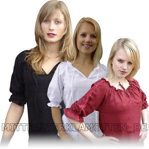 BLUSE-leichte-Baumwolle-kurzaermelig-Mittelalterbluse-Damen-Frauen-kurzer-Arm