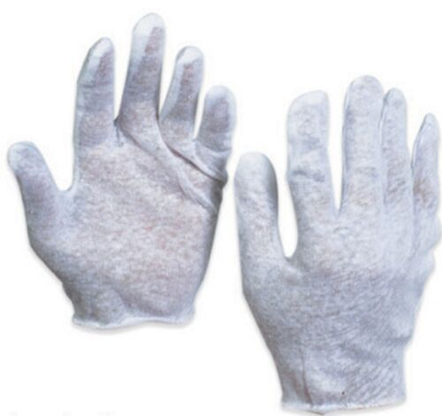 1 PAIR MENS COTTON LISLE COIN INSPECTION GLOVES JEWELRY PHOTO WHITE GLOVE LINER