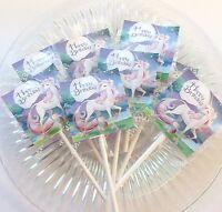 12 Unicorn Lollipops Candy For Party Favors