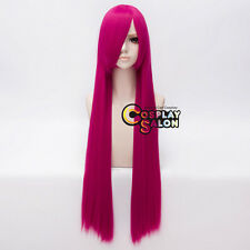 100CM Long Straight Women Magenta Party Hair Anime Cosplay Wig Heat Resistant