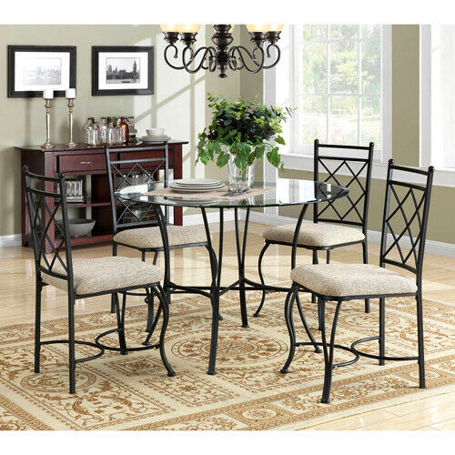 Blossomz Blz 9307 5 Piece Glass Top Metal Dining Set For Sale
