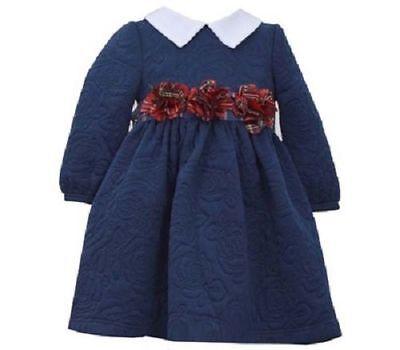 Bonnie Jean Girls Rose Pattern Fall Winter Pageant Quilt Navy Dress 12M 18M 24M