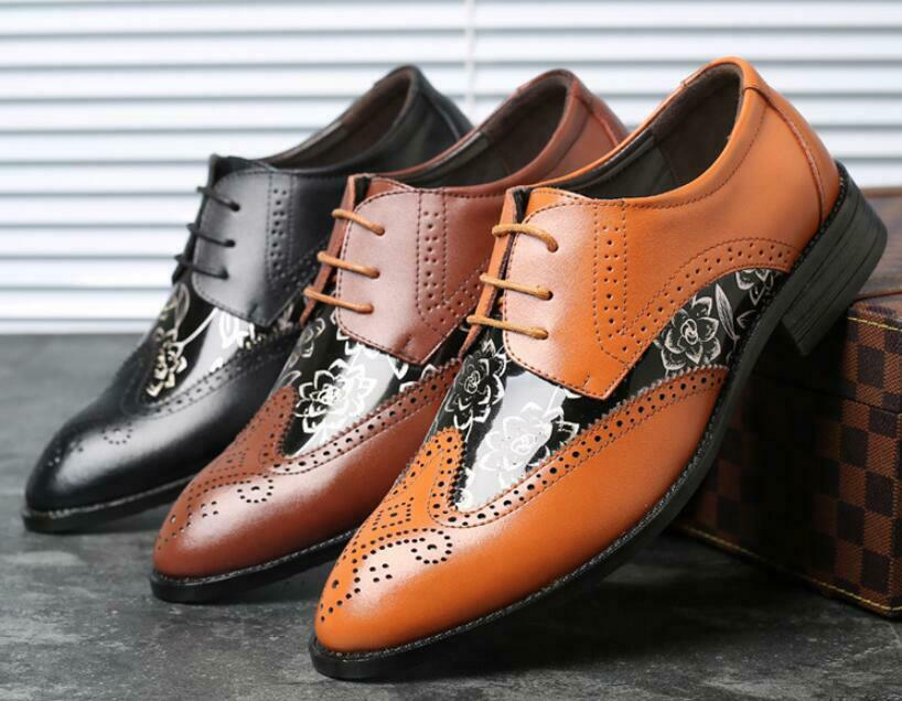 British Men Faux Leather Brogue Wing Tip Lace Up Pointy Toe Business Dress shoes