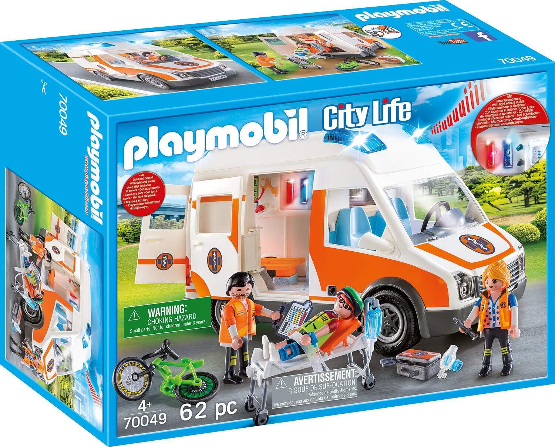 PLAYMOBIL 70049 City Life Rettungswagen Krankenwagen mit Licht und Sound