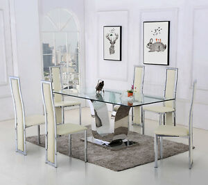 glass kitchen dinner table and chairs dining room set alexandria rh ebay co uk