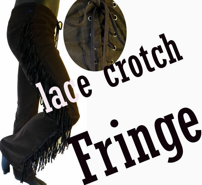 RAMPAGE fringe cowboy jean pant lace credch faux suede leather vegan low rise 7