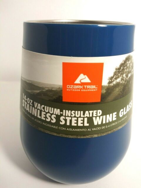 34df6ae76800 Wine Glass Vacuum Insulated Stainless Steel 14 Oz. Ozark Trail Blue Color  NWT