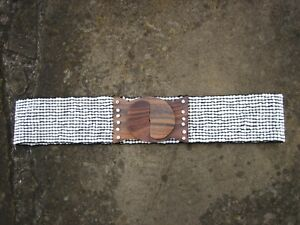 M-Wide-White-Beads-Stretchy-Belt-womens-with-wooden-buckle-FREE-POST