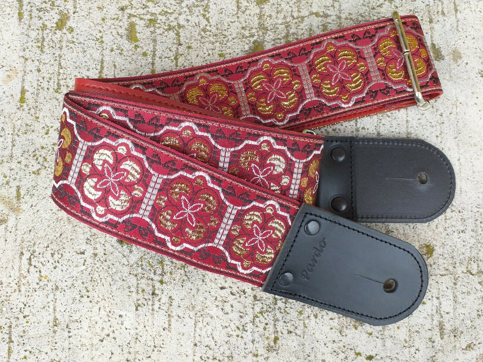 Pardo Guitar Strap Leather Deluxe rot Quatrefoil 2'5   Wide Hippie Bass B183UK