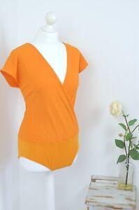 BNWT-Zara-orange-ribbed-stretchy-v-neck-leotard-body-XL-14