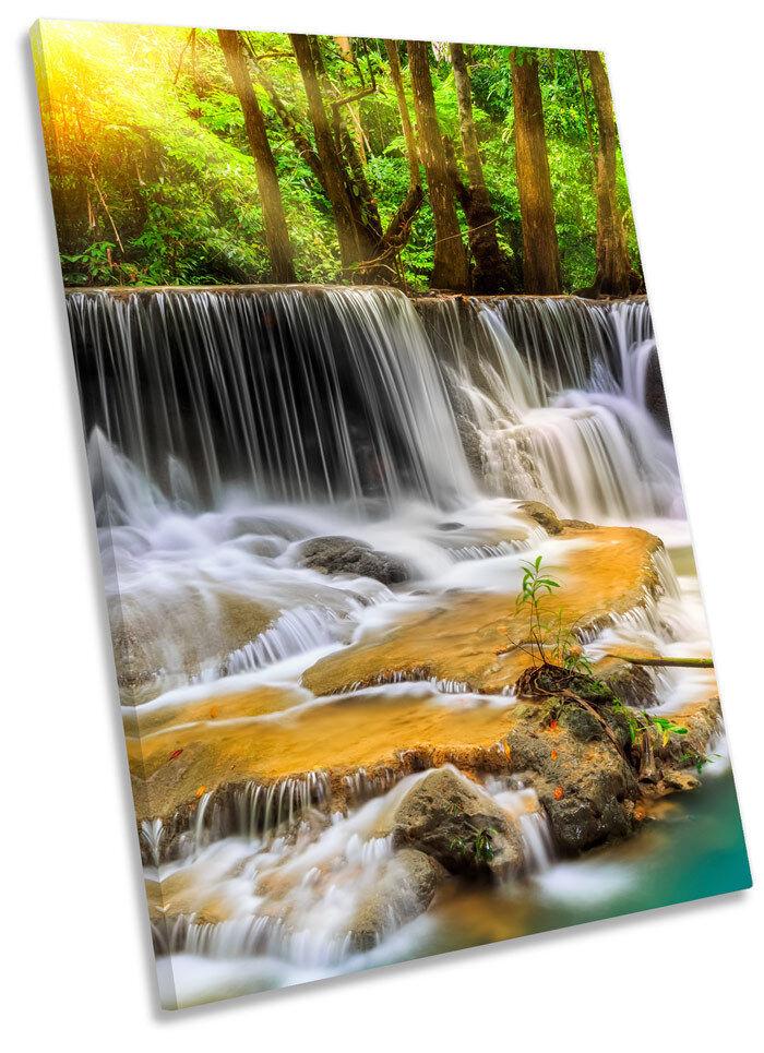 Paradise Waterfall Forest Framed CANVAS Wand Kunst Drucken Bild