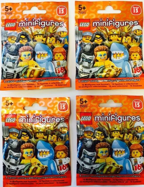 4 (four) x Lego Minifigures 71011 - Mystery Blind Bags - Series 15 - NEW SEALED