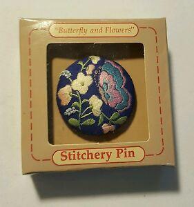 4 designs. Vintage Hallmark Stitchery Pins in Original Box