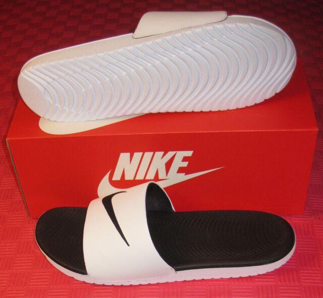Nike Men's Kawa Slides Summer Sandals Black White 832646-100 Men Size 13