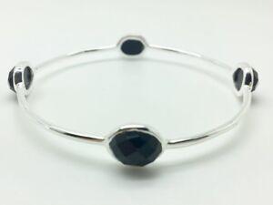 925-Sterling-Silver-Black-Onyx-Bangle-Bracelet-Gemstones-Semi-Precious-Gemstones