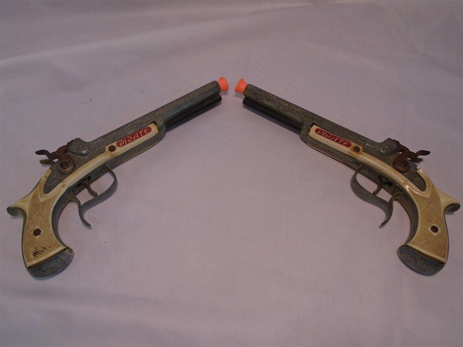 Juego Par Conjunto de Colección Piratas pistolas Cap pitsols Juguete Hubley Double Barrel