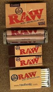 RAW ROLLING - RYO BUNDLE 100 Single Wide Papers+70mm Roller+100 TIPS and MATCHES